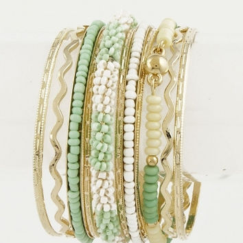 Beaded and Textured Bangles Set - Mint or Peach