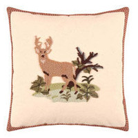 Big Sky Hooked Deer Throw Pillow