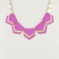 Chunky Neon Geometric Necklace - Pink