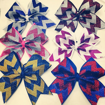 Full Chevron Glitter Bow