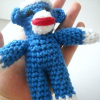 Tiny Sock Monkey 7 inches Cochet | smileykit - Crochet on ArtFire