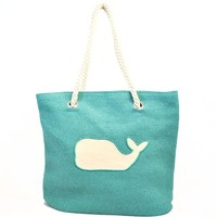Whale Tote Bag with Rope Handle for Women