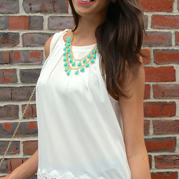 Crocheted Hem Sleeveless Blouse with Tie Back - White