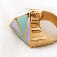 Multi Ring - Pastel Big Diamond Ring ( | UsTrendy