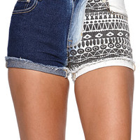 Bullhead Denim Co Roll Bleached Tribal Shorts - Womens Shorts - Black -