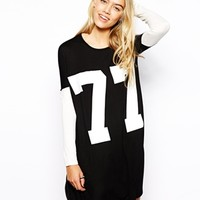 Influence Oversized Collegiate T-Shirt With Contrast Sleeves