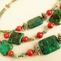 Turquoise Chrysocolla and Coral Necklace by BebeSophie on Etsy