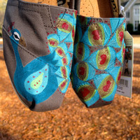 Custom Contemporary  Peacock TOMS 2 by PaintedFeatherArt on Etsy