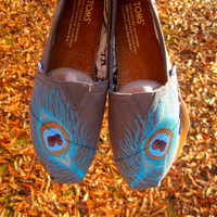 Custom Peacock TOMS by PaintedFeatherArt on Etsy