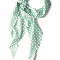 Bow to Stern Scarf in Sea Foam Dots