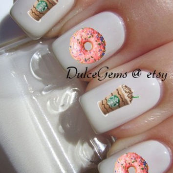 Starbucks Pink Donut Summer Latte Nail Decals
