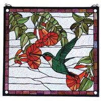Meyda Tiffany Floral Hummingbird Stained Glass Window - 81540 - All Wall Art - Wall Art & Coverings - Decor