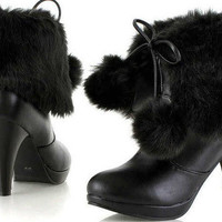 Wholesale Rabbit imitation high heel waterproof increased fashionable boots Z-LGN-C-6 black - Lovely Fashion
