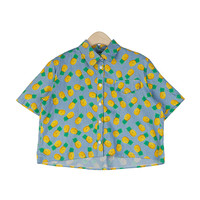 Pineapple Button-Up Crop Shirt