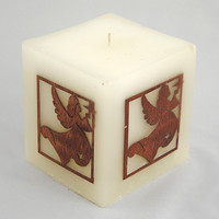 Guardien angel feng shui candle star mahogany wood ornament with inlay marquetry