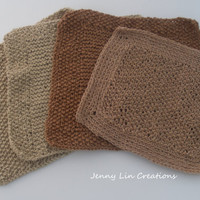 Organic Cotton  Hand Knit Wash Cloths