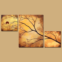 Birds in Tree Branch Painting 42 x 24 by ContemporaryEarthArt