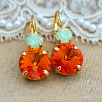 Mint Opal tangerine drop earrings earrings Swarovski Crystal earring bridesmaid jewelry Gift for woman thick Gold plated rhinestone earrings