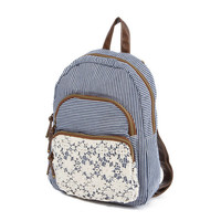 Striped Backpack with Floral Crochet Detail