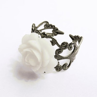 White Rose Filigree Ring - Gunmetal Filigree - by SkyeDancerJewelry on Etsy