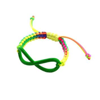 Directioner (TM) Multicolor Braided Green Tone Infinity Fan Bracelet MB288GN