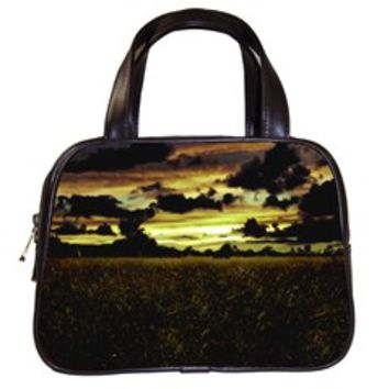 Dark Meadow Landscape Classic Handbag (Two Sides)