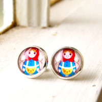matroyshka silver plated post earrings, stud, nesting doll, faux plugs, fake plugs, colorful