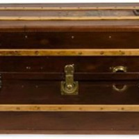 One Kings Lane - Ralf's Antiques - Antique Brown Canvas Trunk, C. 1900