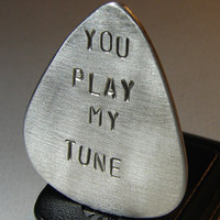 Aluminum Guitar Pick Handmade and Stamped with You by NiciLaskin