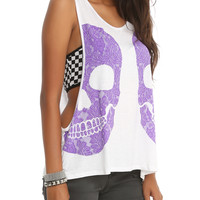 Purple Double Skull Girls Tank Top