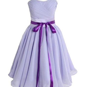 GALHAM - Cute Strapless Women Bow Chiffon Knee Short Prom Dress