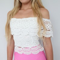 BOHEMIAN SCALLOPED FLORAL LACE WHITE OFF THE SHOULDERS CROCHETED TOP 6 8 10 12