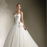Buy Gorgeous Organza&amp; Satin Ball Gown Strapless Sweetheart Neckline Wedding Dress