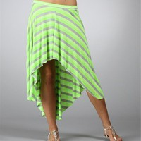 Neon Lime Hi Low Stripe Skirt