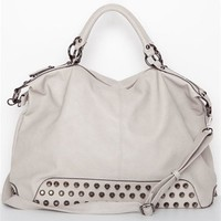 Beige Studded Handbag