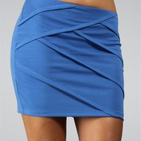 Blue Sky Criss Cross Pleated Pull On Mini Skirt