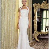 Buy Beautiful Elegant Exquisite Sheath Halter Wedding Dress In Great Handwork