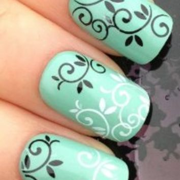 Nicedeco - Beautiful & Fun & Colorful & Fashion nail stickers/tattoo/deacl water transfer Decals Black/White Leaf & Swirls Pattern ,Greatly Positive Feedback From Buyer.