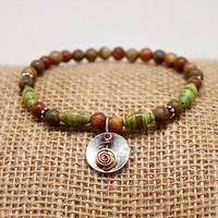 Reiki Bracelet, Copper Power Symbol, Stretch Bracelet, Healing Jewelry, Jasper, Green Paper Beads, Holistic jewelry