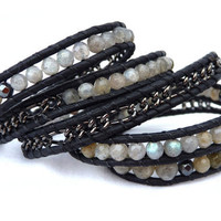 Shades of Grey leather wrap bracelet by Lobsterpirate on Etsy
