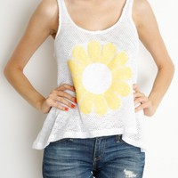 White Daisy Sequin Patch Tank
