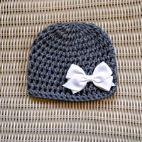 Crocheted Baby Beanie Removable Bow Photo Prop by PowersOfLove