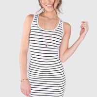 Just A Stripe Dress - White/Black