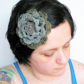 Crochet Irish Rose Fascinator Hair Clip Barrette in Earth, ready to ship.