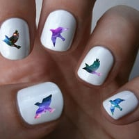 Galaxy bird Nail Art Decals Nail Stickers