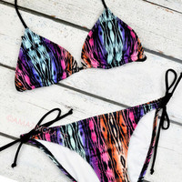 Native Village Geo Tribal Triangle Bikini