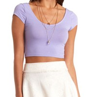 DOUBLE SCOOP SHORT SLEEVE CROP TOP