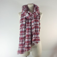 RED PLAID Scarf - Long Scarf - Preppy Plaid - Lightweight Cotton Gauze Scarf  - Patriotic - Unisex