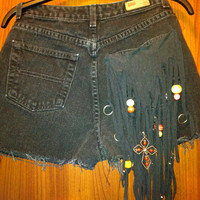 Fringe Charm Pocket High Waisted Denim Shorts by MoleekOnes