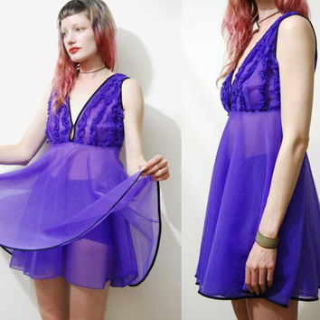 60s Vintage PURPLE Sheer Dress BABYDOLL Nightie Negligee Layered Retro Ruffle Kitsch Kawaii 1960s vtg S